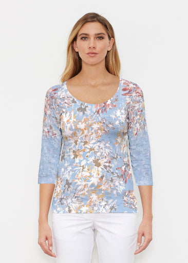 Floral Burst Blue (7710) ~ Signature 3/4 Sleeve Scoop Shirt