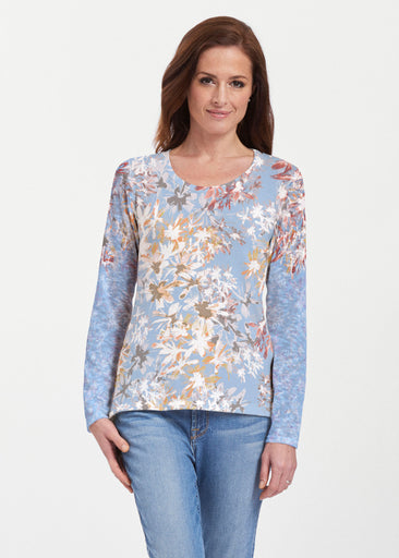 Floral Burst Blue (7710) ~ Texture Mix Long Sleeve
