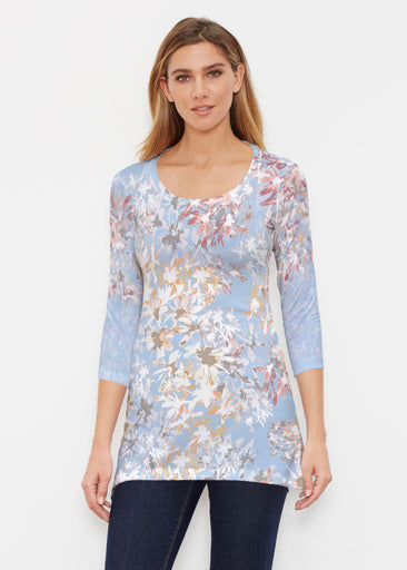 Floral Burst Blue (7710) ~ Buttersoft 3/4 Sleeve Tunic