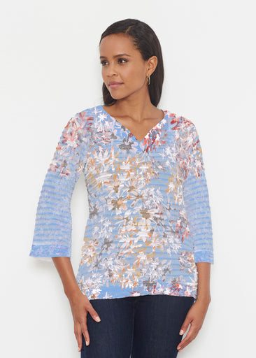 Floral Burst Blue (7710) ~ Banded 3/4 Bell-Sleeve V-Neck Tunic