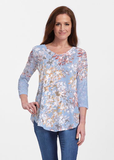 Floral Burst Blue (7710) ~ V-neck Flowy Tunic