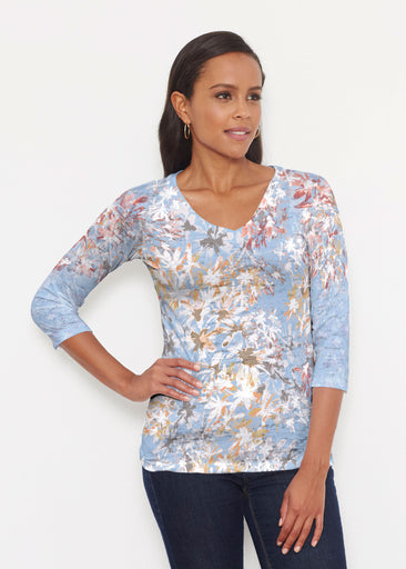 Floral Burst Blue (7710) ~ Signature 3/4 V-Neck Shirt