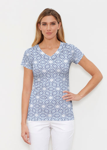 Toss Up Daisy (7716) ~ Signature Cap Sleeve V-Neck Shirt