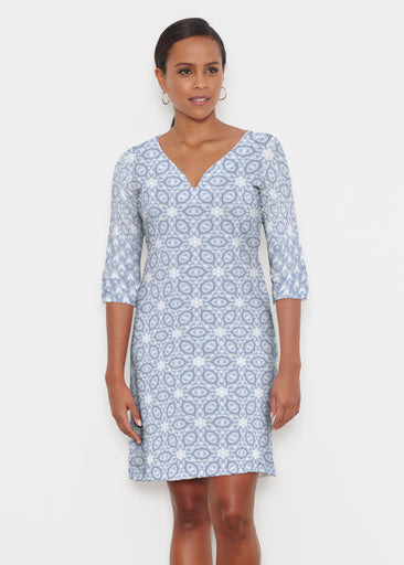 Toss Up Daisy (7716) ~ Classic 3/4 Sleeve Sweet Heart V-Neck Dress