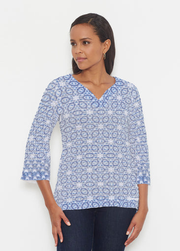 Toss Up Daisy (7716) ~ Banded 3/4 Bell-Sleeve V-Neck Tunic