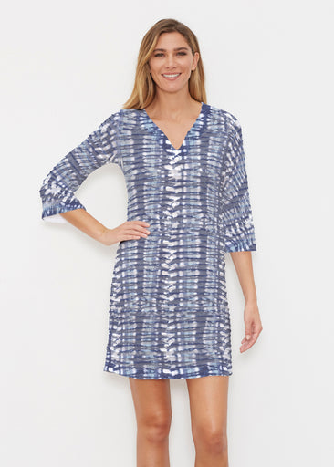 Electric Blue (7719) ~ Banded 3/4 Sleeve Cover-up Dress