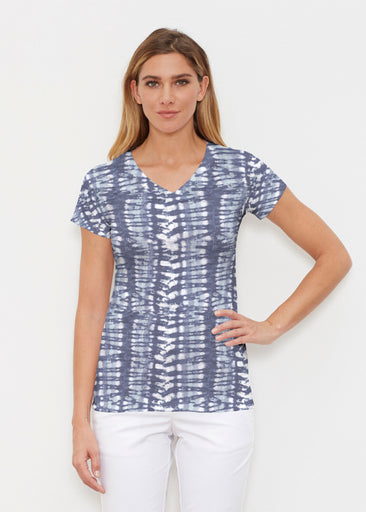 Electric Blue (7719) ~ Signature Cap Sleeve V-Neck Shirt