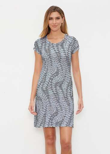 Textured Tracks Black (7720) ~ Classic Crew Dress