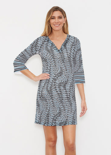 Textured Tracks Black (7720) ~ Banded 3/4 Sleeve Cover-up Dress