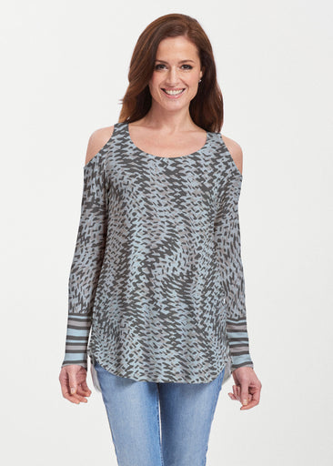 Textured Tracks Black (7720) ~ Butterknit Cold Shoulder Tunic