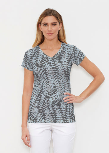 Textured Tracks Black (7720) ~ Signature Cap Sleeve V-Neck Shirt