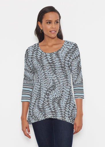 Textured Tracks Black (7720) ~ Katherine Hi-Lo Thermal Tunic