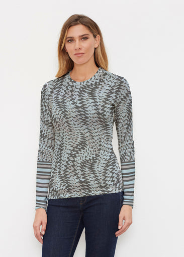 Textured Tracks Black (7720) ~ Butterknit Long Sleeve Crew Top