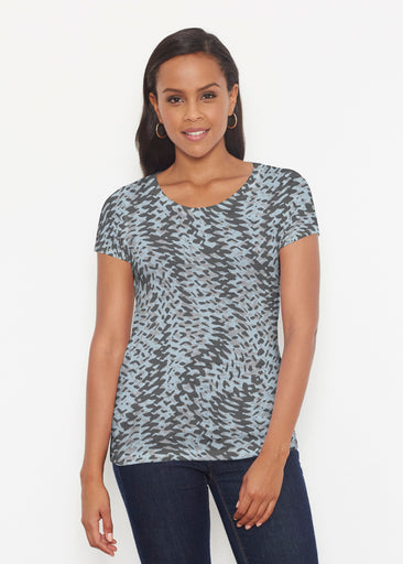 Textured Tracks Black (7720) ~ Signature Short Sleeve Scoop Shirt