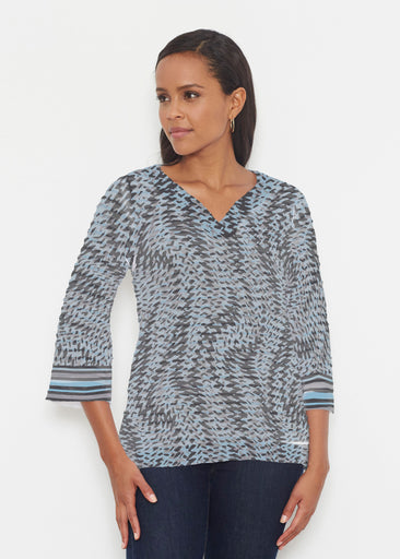 Textured Tracks Black (7720) ~ Banded 3/4 Bell-Sleeve V-Neck Tunic