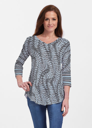 Textured Tracks Black (7720) ~ Signature V-neck Flowy Tunic