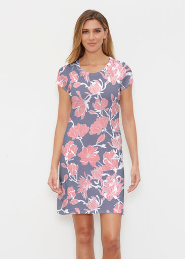 Melina Blooms Navy (7721) ~ Classic Crew Dress