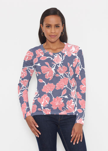 Melina Blooms Navy (7721) ~ Signature Long Sleeve Crew Shirt