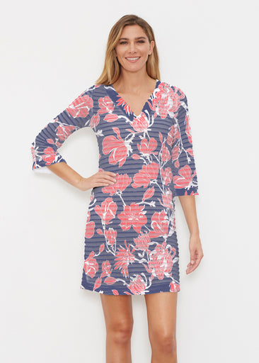 Melina Blooms Navy (7721) ~ Banded 3/4 Sleeve Cover-up Dress