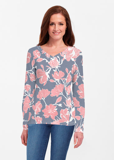Melina Blooms Navy (7721) ~ Classic V-neck Long Sleeve Top