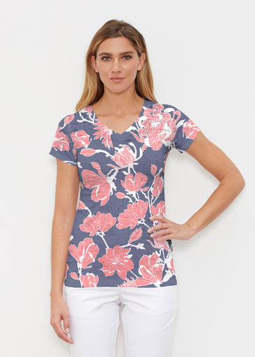 Melina Blooms Navy (7721) ~ Signature Cap Sleeve V-Neck Shirt