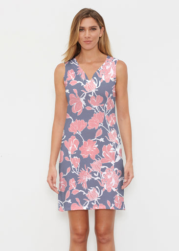 Melina Blooms Navy (7721) ~ Classic Sleeveless Dress