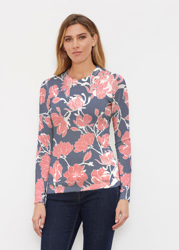 Melina Blooms Navy (7721) ~ Butterknit Long Sleeve Crew Top