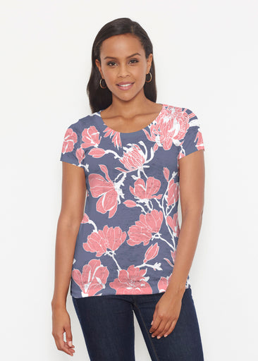 Melina Blooms Navy (7721) ~ Signature Short Sleeve Scoop Shirt