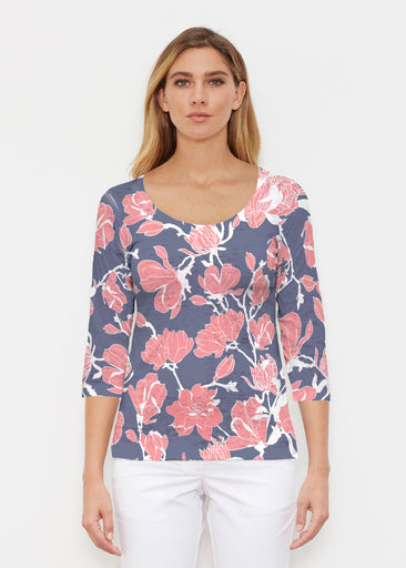 Melina Blooms Navy (7721) ~ Signature 3/4 Sleeve Scoop Shirt