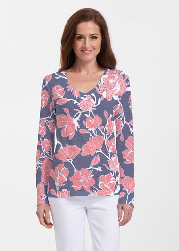 Melina Blooms Navy (7721) ~ Thermal Long Sleeve V-Neck Shirt