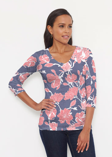 Melina Blooms Navy (7721) ~ Signature 3/4 V-Neck Shirt