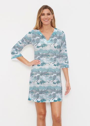 Textured Landscape (7722) ~ Banded 3/4 Sleeve Cover-up Dress