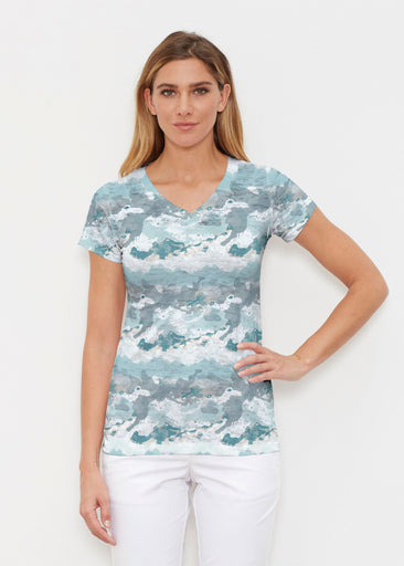 Textured Landscape (7722) ~ Signature Cap Sleeve V-Neck Shirt
