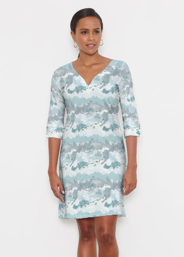 Textured Landscape (7722) ~ Classic 3/4 Sleeve Sweet Heart V-Neck Dress