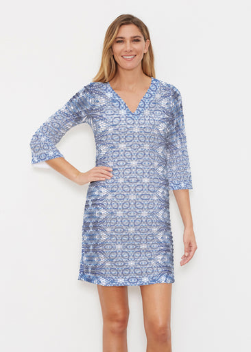 Picket Daisy (7729) ~ Banded 3/4 Sleeve Cover-up Dress