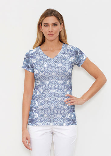 Picket Daisy (7729) ~ Signature Cap Sleeve V-Neck Shirt