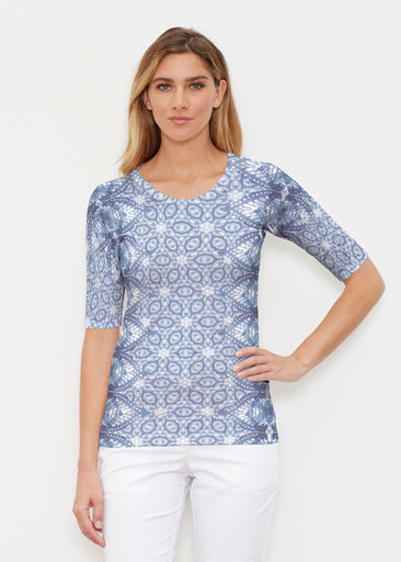 Picket Daisy (7729) ~ Signature Elbow Sleeve Crew Shirt