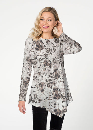 Tulip Leopard Multi  (7731) ~ Asymmetrical French Terry Tunic