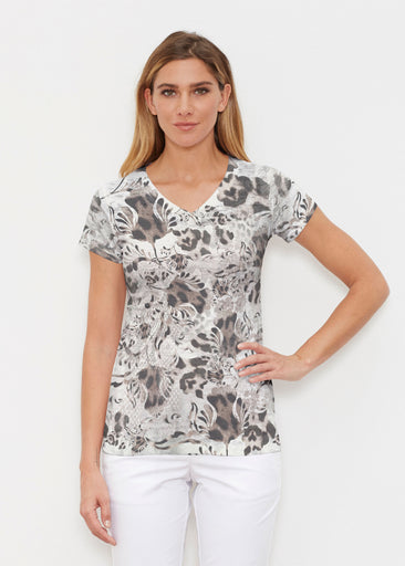 Tulip Leopard Multi (7731) ~ Signature Cap Sleeve V-Neck Shirt