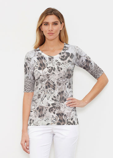 Tulip Leopard Multi (7731) ~ Signature Elbow Sleeve Crew Shirt