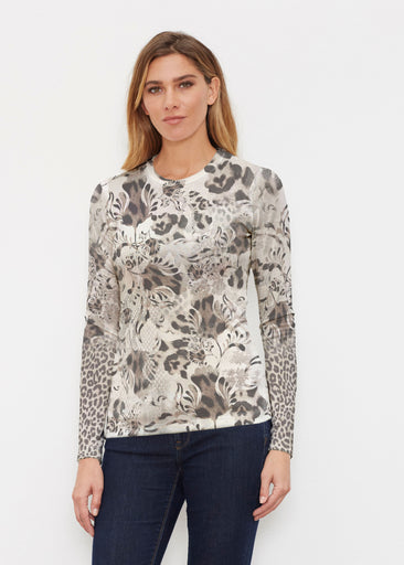 Tulip Leopard Multi (7731) ~ Butterknit Long Sleeve Crew Top