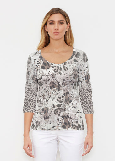 Tulip Leopard Multi (7731) ~ Signature 3/4 Sleeve Scoop Shirt