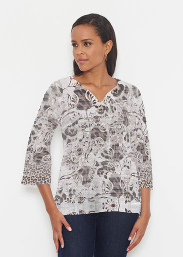 Tulip Leopard Multi (7731) ~ Banded 3/4 Bell-Sleeve V-Neck Tunic