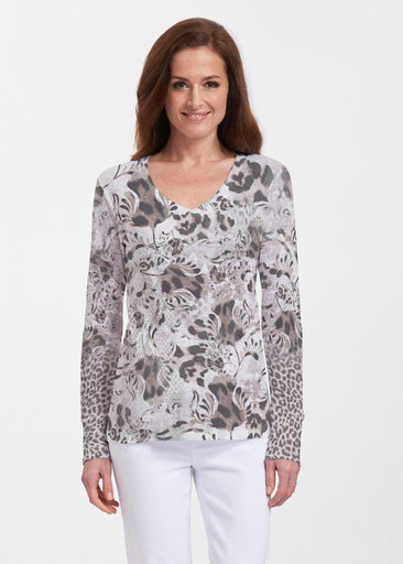 Tulip Leopard Multi (7731) ~ Thermal Long Sleeve V-Neck Shirt