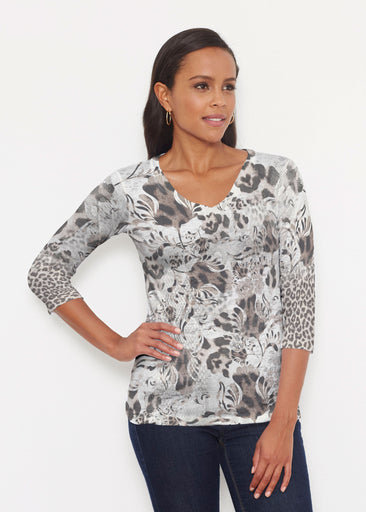 Tulip Leopard Multi (7731) ~ Signature 3/4 V-Neck Shirt