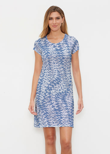 Textured Tracks Blue (7737) ~ Classic Crew Dress