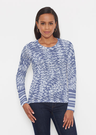 Textured Tracks Blue (7737) ~ Signature Long Sleeve Crew Shirt