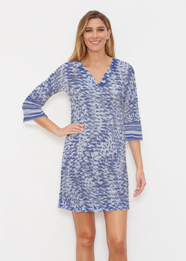Textured Tracks Blue (7737) ~ Banded 3/4 Sleeve Cover-up Dress