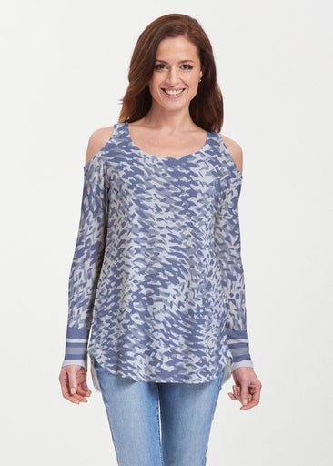 Textured Tracks Blue (7737) ~ Butterknit Cold Shoulder Tunic