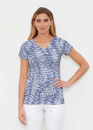 Textured Tracks Blue (7737) ~ Signature Cap Sleeve V-Neck Shirt